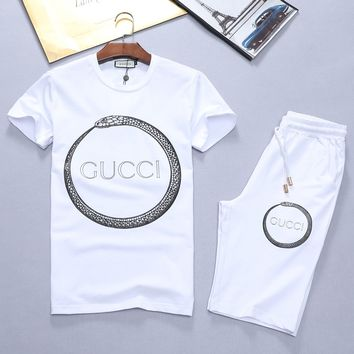 Boys & Men Gucci Fashion Casual Shirt Top Tee Shorts Set Two-Piece