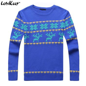 LetsKeep 2017 mens christmas sweater with deer men pullover Ugly christmas sweater mens cheap reindeer sweater knitted ,MA155