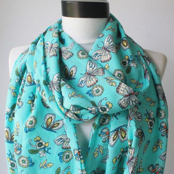 butterfly scarf,infinity scarf, scarf, scarves, long scarf, loop scarf, gift