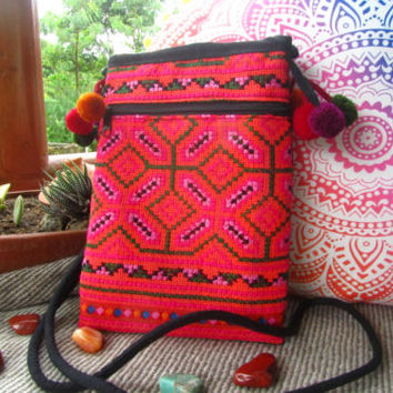 Hilltribe Embroidered Mini Bag Cotton Passport Pouch Flower Ethnic Wallet Purse | eBay