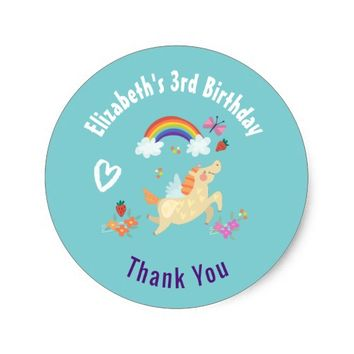 Happy Unicorn with Rainbow Clouds Birthday Thanks Classic Round Sticker