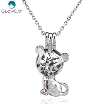 "K77 Silver Lovely Animal Cat Diffuser Locket Necklace Kid Aromatherapy Steel 16"" Aroma Essential Oil Diffuser Locket"