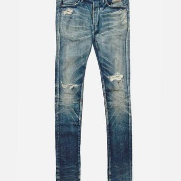 Vintage Dark Blue Distressed Jeans