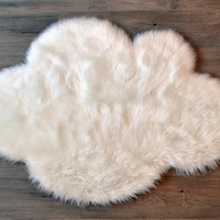 Machine Washable Faux Sheepskin White Cloud Area Rug