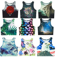 2016 summer womens crop tops 3d animal tiger lion galaxy weed flower skull sexy women tank top cropped fitness boby t shirt
