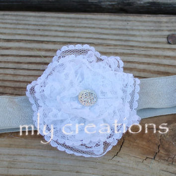 White Lace Hair bow, White Lace Headband, baby headband, baby hair bow, christening hair bow, flower girl hair bow, newborn hair bow