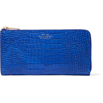 Smythson - Mara croc-effect glossed-leather wallet