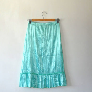 Pastel / mint / green / vintage / 70s / boho / gypsy / frill / pleated / glossy satin / maxi skirt
