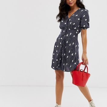 Wednesday's Girl button through mini dress in polka dot | ASOS