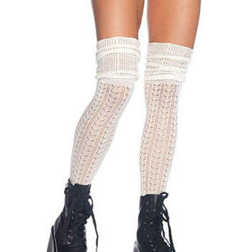Pointelle Lace Thigh Highs in Ivory