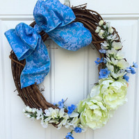 Spring Summer Shabby Chic Blue and Green Grapevine Wreath; Blue Green White Flower Wreath; Peony Paisley Bow Wreath; Mother's Day gift