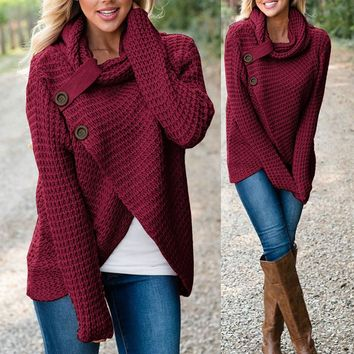 Women's Long Sleeve Thick Knitted Turtle Neck Sweater