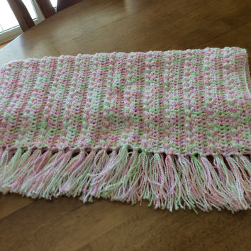Pink Green Peach White Popcorn Stitch, Sparkle Yarn with Fringe Crochet Baby Blanket