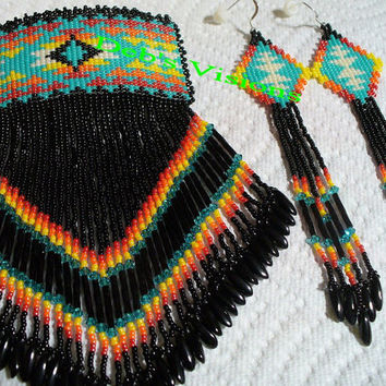 Loom and Brick stitch beaded Native American inspired Barrette and Earring Set