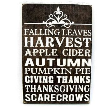 Thanksgiving Sign Rustic Wood Wall Decor - Subway Art (#1209)