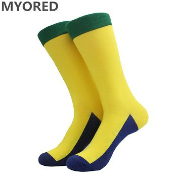 MYORED mens solid colored sock summer autumn winter spring long crew socks for business casual sox