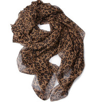 Leopard Print Voile Scarf