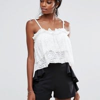 Missguided Pleated Lace Cami Crop Top at asos.com