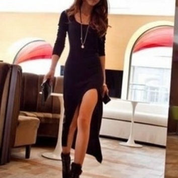 Black Women Cotton Long Sleeves Slim High and Low Dresses One Size = 1956816964