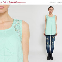 50% OFF SALE 1990's Mint Tank Top - Vintage 90s Embroidery Tunic A Lined Lace Cocktail Green Top Disco Indie Sleeveless Cotton Summer Shirt