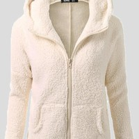 Apricot Pockets Zipper Hooded Cute Teddy Faux Wool Sweater Cardigan Coat