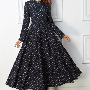 Free Shipping National Style Retro Stand Collar Flower Printed Long Sleeve Woman Long Cotton Linen Dress