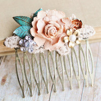 Vintage Collage Bridal Hair Comb,Vintage Crochet, Rose Gold,Muted Blush Peach, Upcycled Repurposed Jewlery, Bridesmaids, Shabby Chic