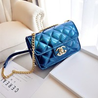 Women Simple Fashion Glossy Lacquer Leather Rhombic Line Jelly Mini Metal Chain Single Shoulder Messenger Bag