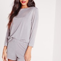 Missguided - Lace Hem Ribbed Pajama Set Pink