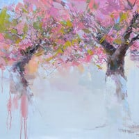 Landscape oil painting - Trees in Blossom Spring Painting - Beautiful Nature Painting by Yuri Pysar