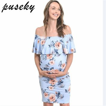 Puseky Maternity Dresses For Photo Shoot Off Shoulder Ruffles Stretchy Milk Silk Pregnant Gown Jersey Pregnancy Clothes S-XL