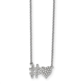 Sterling Silver Rhodium-plated CZ 18in Hashtag Heart Necklace
