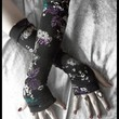 Arm Warmers - Black with Teal, Purple, Lavender & White Floral - Yoga | ZenAndCoffee - Accessories on ArtFire