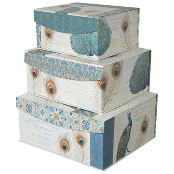 Decorative Storage Organizer boxes with Magnetic Sealable Lids (Set of 3)