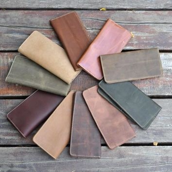 simple handmade genuine leather long wallet vintage card hold purse cool gift 39 2