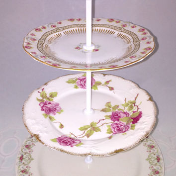 Antique Three Tier cake stand or jewelry holder