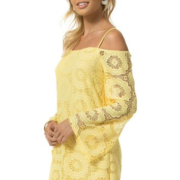 Teeze Me | Spaghetti Strap Angel Long Sleeve Lace Shift Dress | Yellow