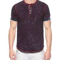 True Religion Striped Jersey Mens Henley - Indigo Red Stripe