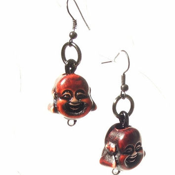 Laughing Buddha Earrings Small Dangles by PinchtheMuse on Etsy