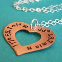 Latitude and Longitude Heart Necklace  - Personalized GPS Coordinates Necklace in your choice of metal