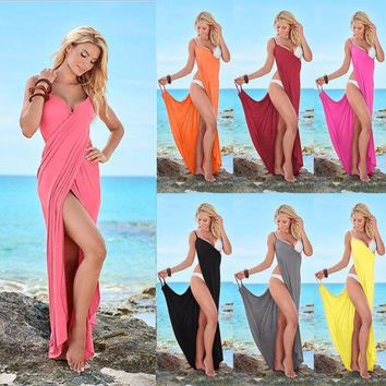 DKLW8 Echoine Women Beach Cover Up Solid 10 Colors Goddess Spaghetti Strap Sarong Beachwear Sexy High Slit V Neck Backless Beach Dress