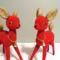 Vintage Reindeer Red Deer Velvet Reindeer Christmas Deer Red and Gold Holiday Decor Rudulph Retro Chistmas Decor
