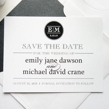 Monogram Save the Date Card - DEPOSIT