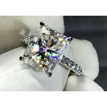 14K White Gold 4CT Radiant Cut Moissanite Diamond Solitaire Engagement Ring