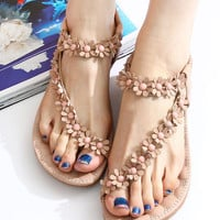 Style Sweet Bohemian Beaded Sandals Shoes