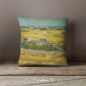 Van Gogh Harvest Decorative Throw Pillow Cover - Free Shipping