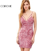 COLROVIE European Fashion Ladies Sleeveless Bodycon Slip Dress Pink Strappy Deep V Neck Crushed Velvet Cami Dress