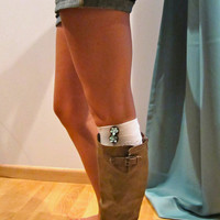 pearl white leg warmers, boot socks, tiffany blue bows, wood buttons
