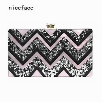 New 2017 Women evening Clutch bag Acrylic vintage Wave patchwork wallet Shoulder party portable casual Noble Prom handbag Hot