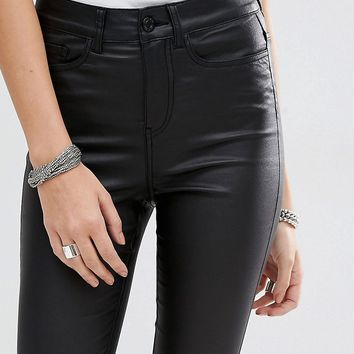 Noisy May Lexi High Rise Coated Skinny Jeans